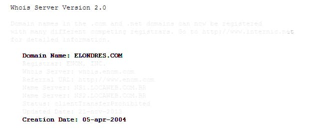 Registro do site em 5 de Abril de 2004