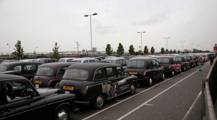 Black cabs at Heathrow photo Rex