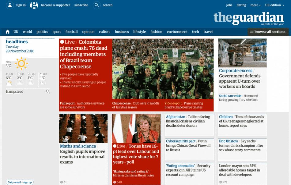 Jornais britânicos repercutem queda do avião da Chapecoense