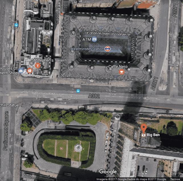 Imagem aérea da rota para o Big Ben.